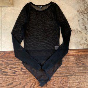 Fashion Nova Sheer Black Long Sleeve Body Suit